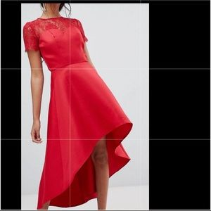 Red Chi chi London high low hem dress